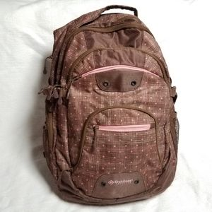 Outdoor Products brown w/ pink polka dot backpack
